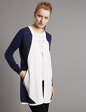 Pure Cashmere Cardigan, NAVY MIX, catlanding