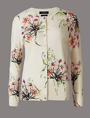 Pure Cashmere Floral Print Cardigan, OATMEAL MIX, catlanding