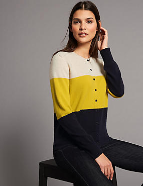 Pure Cashmere Colour Block Cardigan , NAVY MIX, catlanding