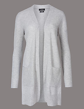 Pure Cashmere Textured Longline Cardigan, SILVER GREY, catlanding