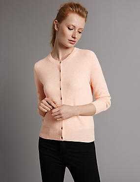 Pure Cashmere Button Through Cardigan, BLUSH, catlanding