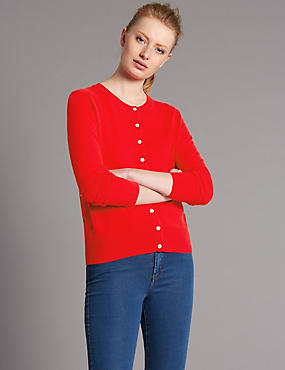 Pure Cashmere Crew Neck Cardigan, BRIGHT RED, catlanding