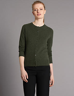 Pure Cashmere Button Through Cardigan, SAGE, catlanding