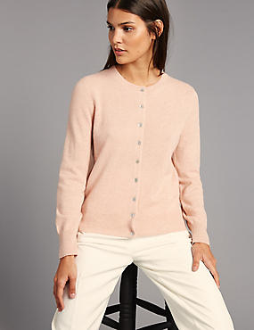 Pure Cashmere Button Through Cardigan, COPPER ROSE, catlanding