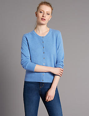 Pure Cashmere Button Through Cardigan, CORNFLOWER, catlanding