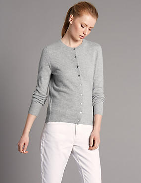 Pure Cashmere Button Through Cardigan, MEDIUM SLATE, catlanding