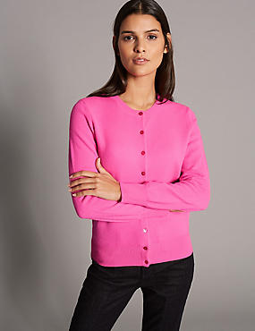 Pure Cashmere Button Through Cardigan, HOT PINK, catlanding