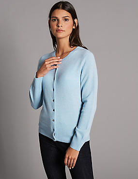 Pure Cashmere Button Through Cardigan, CHAMBRAY, catlanding