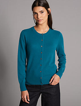 Pure Cashmere Button Through Cardigan, DARK KINGFISHER, catlanding
