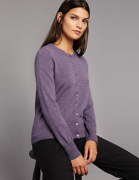 Pure Cashmere Button Through Cardigan, MEDIUM GRAPE, catlanding