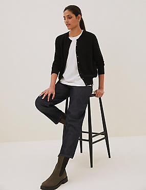 Pure Cashmere Button Through Cardigan, BLACK, catlanding