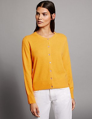 Pure Cashmere Round Neck Cardigan, ORANGE SQUASH, catlanding