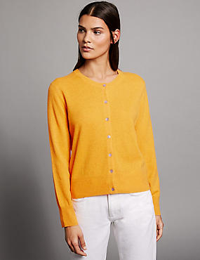 Pure Cashmere Button Through Cardigan, ORANGE SQUASH, catlanding