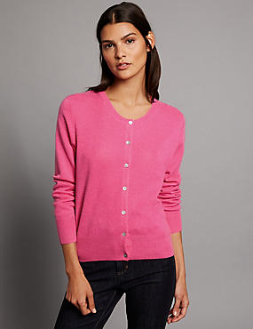 Pure Cashmere Button Through Cardigan, FUCHSIA, catlanding