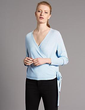 Pure Cashmere Ballet Wrap Cardigan, FRESH BLUE, catlanding