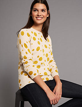 Pure Cashmere Spotted Round Neck Jumper, OATMEAL MIX, catlanding