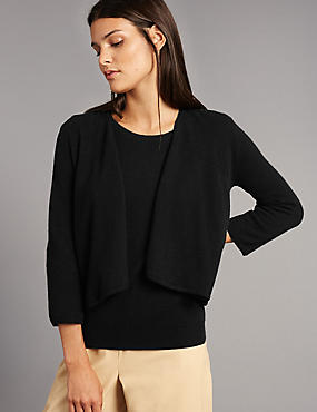 Pure Cashmere Waterfall Cardigan, BLACK, catlanding