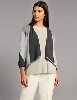 Pure Cashmere Colour Block Cardigan, GREY MIX, catlanding