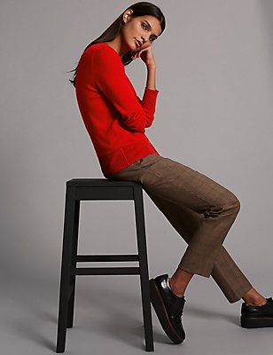Cashmere Rich Round Neck Cardigan, RED MIX, catlanding