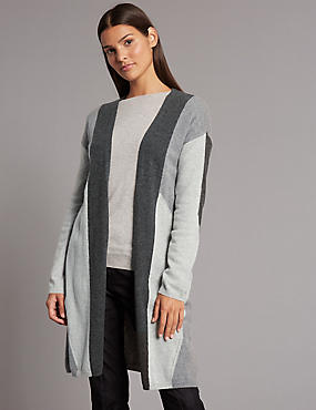 Pure Cashmere Colour Block Longline Cardigan, GREY MIX, catlanding