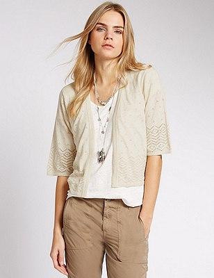 Pure Cotton Pointelle Cover Up Cardigan, NATURAL MIX, catlanding