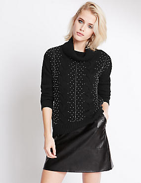 Polo Neck Long Sleeve Beaded Jumper, BLACK MIX, catlanding