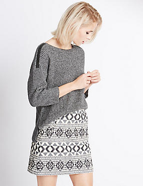 Lurex Shoulder 3/4 Sleeve Jumper, SILVER GREY, catlanding