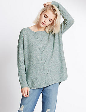 Oversized Long Sleeve Jumper, DUCK EGG, catlanding