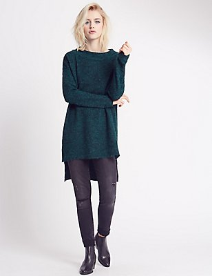 Stretch Yarn Dipped Hem Jumper, TEAL, catlanding