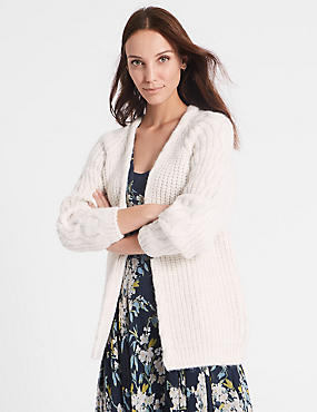Ribbed Cable Knit Cardigan, CREAM, catlanding