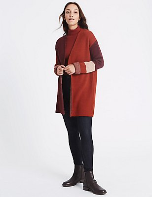 Colour Block Cardigan, DARK GRAPE, catlanding