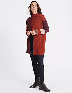 Gilet veste à motif color block, RAISIN FONCÉ, catlanding