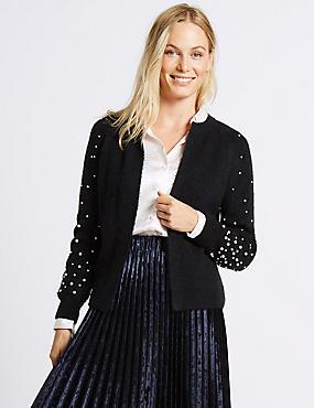Pearl Sleeve Open Front Cardigan, NAVY, catlanding