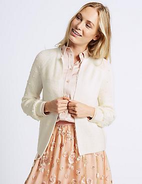 Pearl Sleeve Open Front Cardigan, CREAM, catlanding