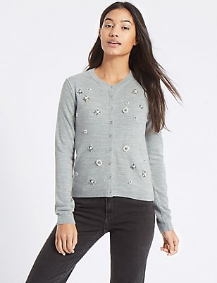 Embroidered Long Sleeve Cardigan, GREY MARL, catlanding