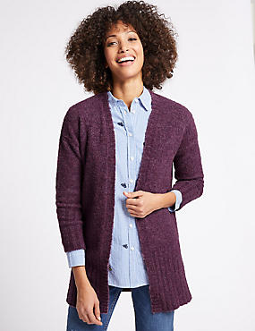 Textured Open Front Cardigan, BLACKBERRY, catlanding
