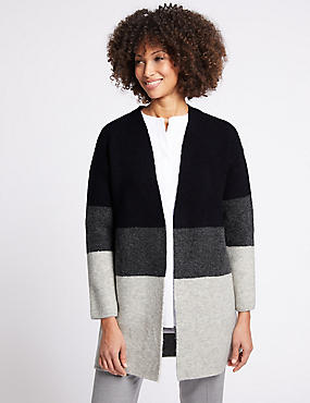 Colour Block Longline Open Front Cardigan , NAVY MIX, catlanding