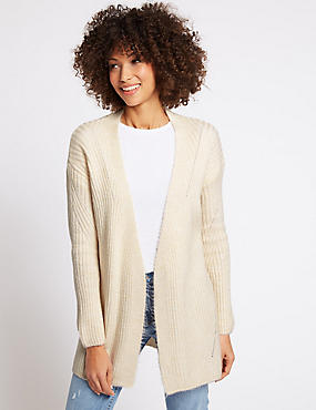 Belted Long Sleeve Cardigan, CREAM, catlanding