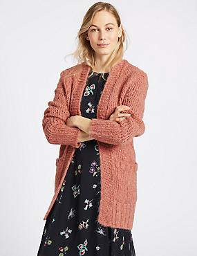Textured Open Front Long Sleeve Cardigan, DUSKY ROSE, catlanding