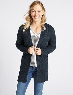 Textured Open Front Long Sleeve Cardigan, STORM, catlanding