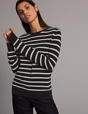 Pure Cashmere Striped Round Neck Jumper, NAVY MIX, catlanding