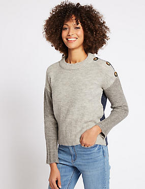 Colour Block Ribbed Button Detail Jumper, GREY MIX, catlanding
