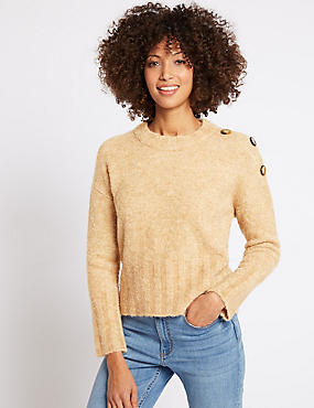 Button Shoulder Round Neck Jumper, OATMEAL, catlanding