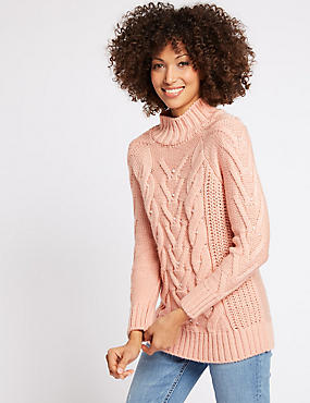 Pearl Embellished Long Sleeve Jumper, BUBBLEGUM, catlanding