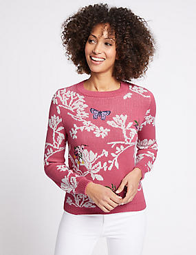 Cotton Rich Floral Print Round Neck Jumper, BLUSH, catlanding