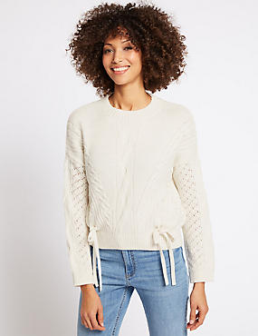 Lace Insert Sleeve Tie Detail Round Neck Jumper, CREAM MIX, catlanding