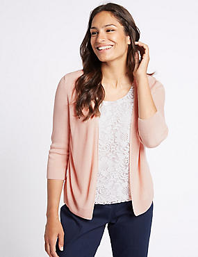 Lace Front Round Neck 3/4 Sleeve Cardigan, APRICOT, catlanding