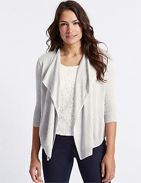 Lace Front 3/4 Sleeve Cardigan, GREY MARL, catlanding