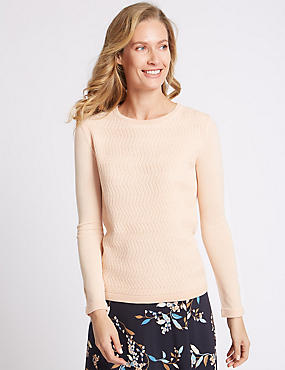 Textured Back Zip Round Neck Jumper, SOFT PEACH, catlanding