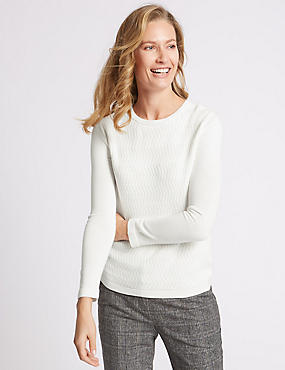 Textured Back Zip Round Neck Jumper, WINTER WHITE, catlanding